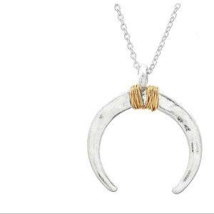 Jewelry - hammered crescent with gold wire wrapped necklace